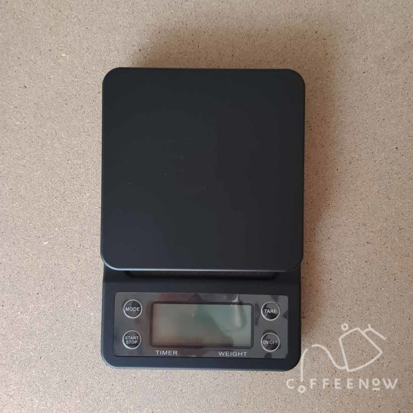 top view of the coffee timer scale